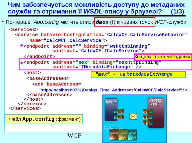 По-перше, App.config містить описи двох (!) кінцевих точок WCF-служби Чим заб...