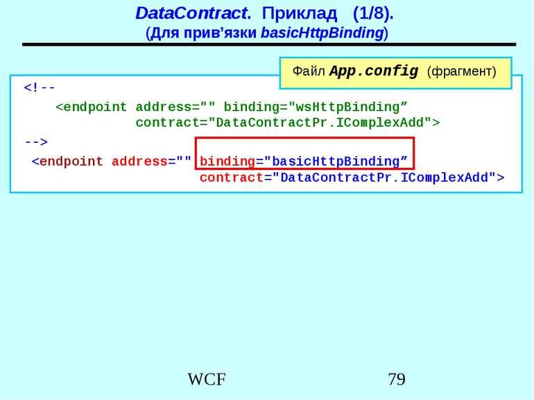 DataContract. Приклад (1/8). (Для прив'язки basicHttpBinding)