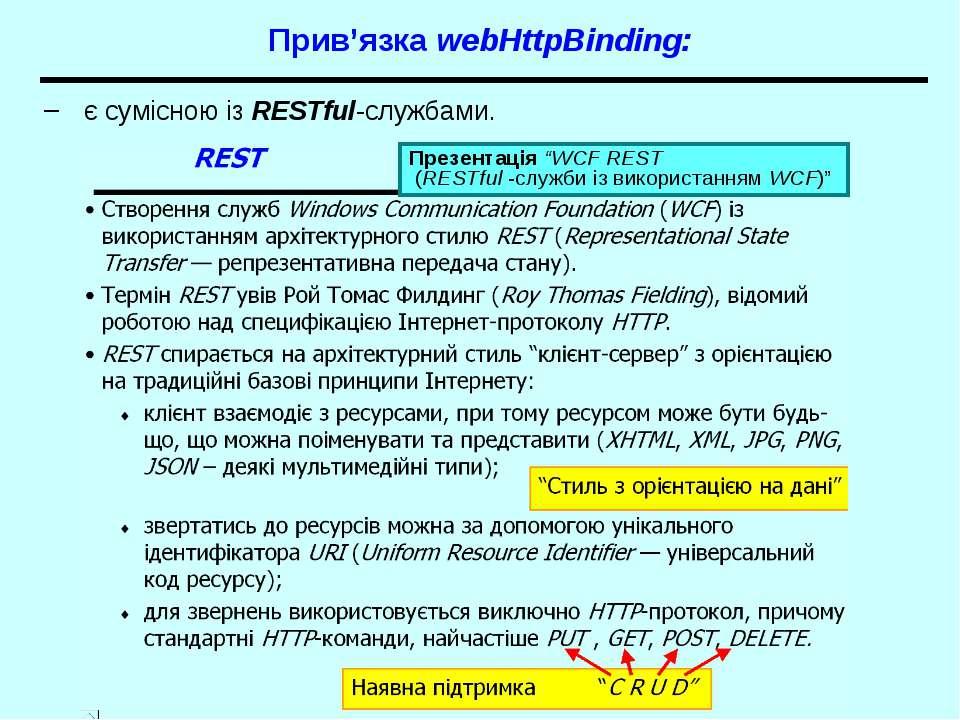 """Прив'язка webHttpBinding: є сумісною із RESTful-службами. Презентація """"WCF RE..."""