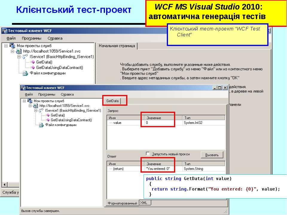 Клієнтський тест-проект WCF MS Visual Studio 2010: автоматична генерація тест...