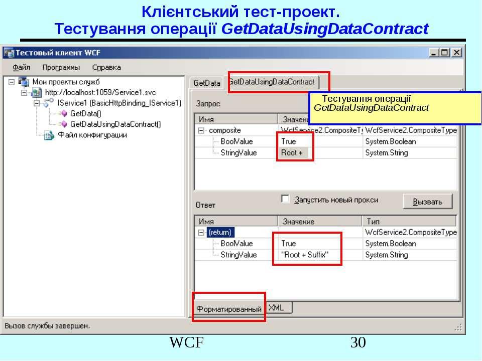 Клієнтський тест-проект. Тестування операції GetDataUsingDataContract Тестува...