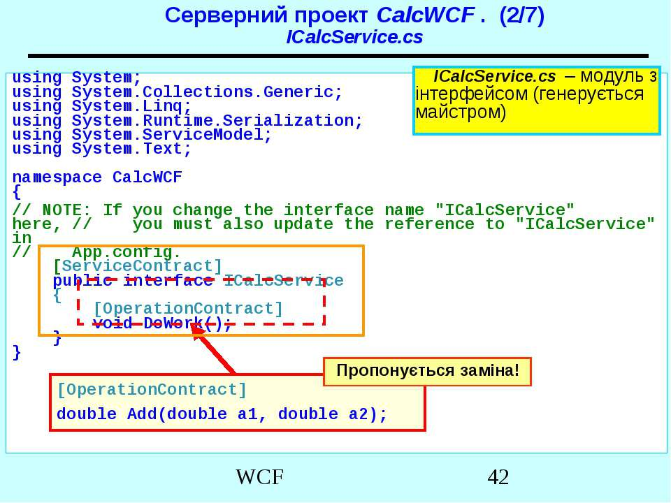 Серверний проект CalcWCF . (2/7) ICalcService.cs using System; using System.C...
