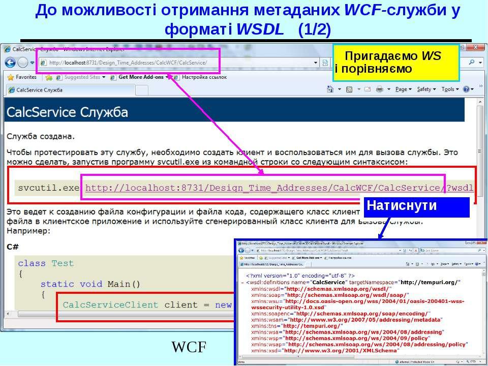 До можливості отримання метаданих WCF-служби у форматі WSDL (1/2) Натиснути П...