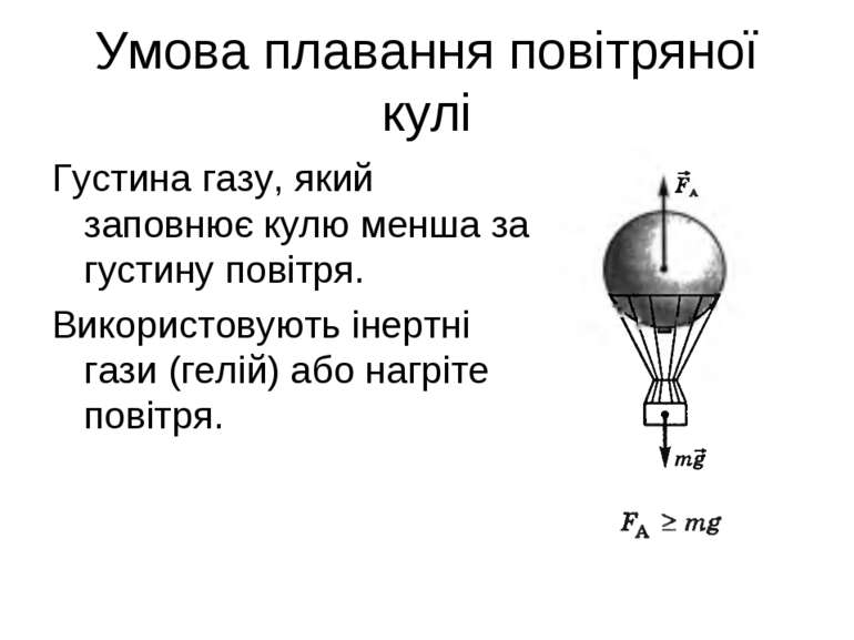 Умова плавання повітряної кулі Густина газу, який заповнює кулю менша за густ...