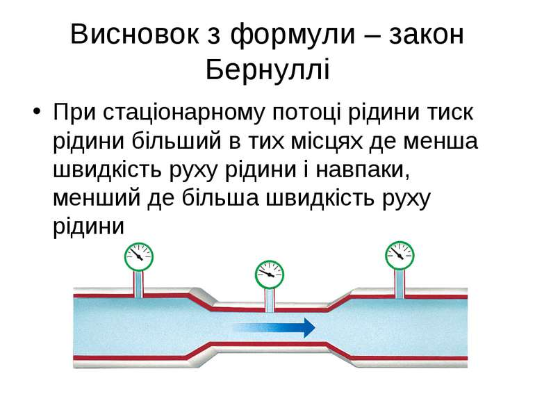 Висновок з формули – закон Бернуллі При стаціонарному потоці рідини тиск ріди...