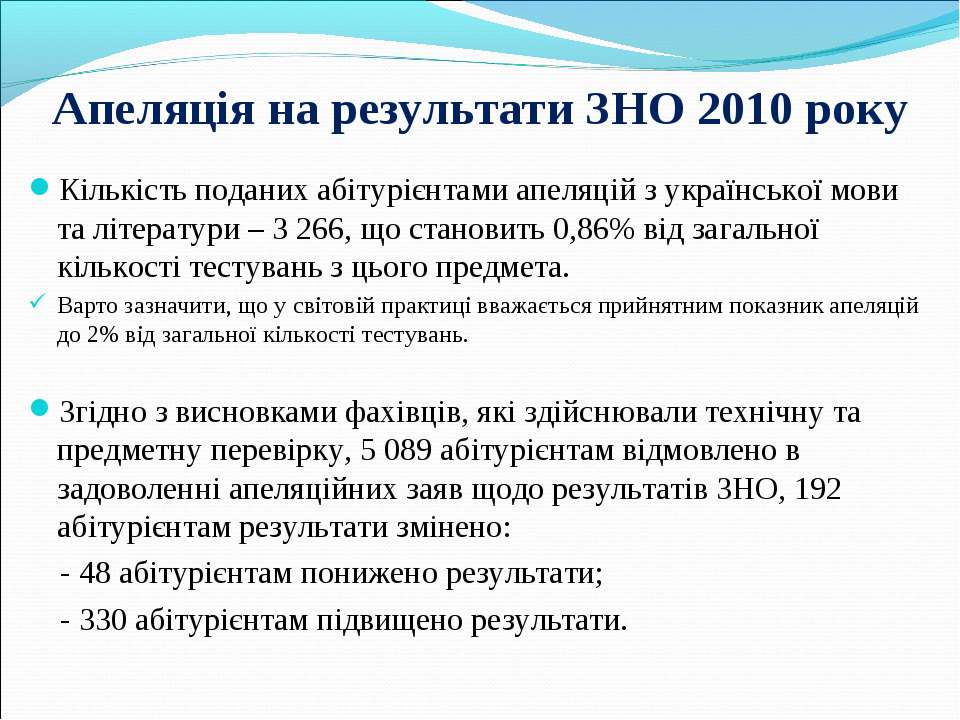 Апеляція на результати ЗНО 2010 року Кількість поданих абітурієнтами апеляцій...