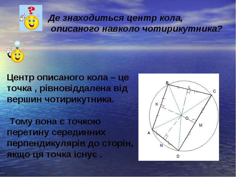 Де знаходиться центр кола, описаного навколо чотирикутника? Центр описаного к...