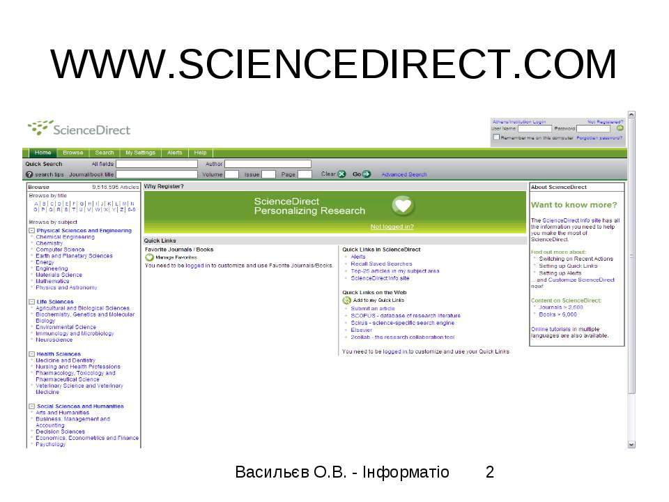 WWW.SCIENCEDIRECT.COM Васильєв О.В. - Інформатіо