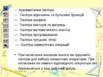 — Арифметична палітра — Палітра відношень та бульових функцій — Палітра графі...