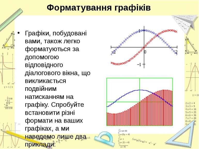 Форматування графіків Графіки, побудовані вами, також легко форматуються за д...