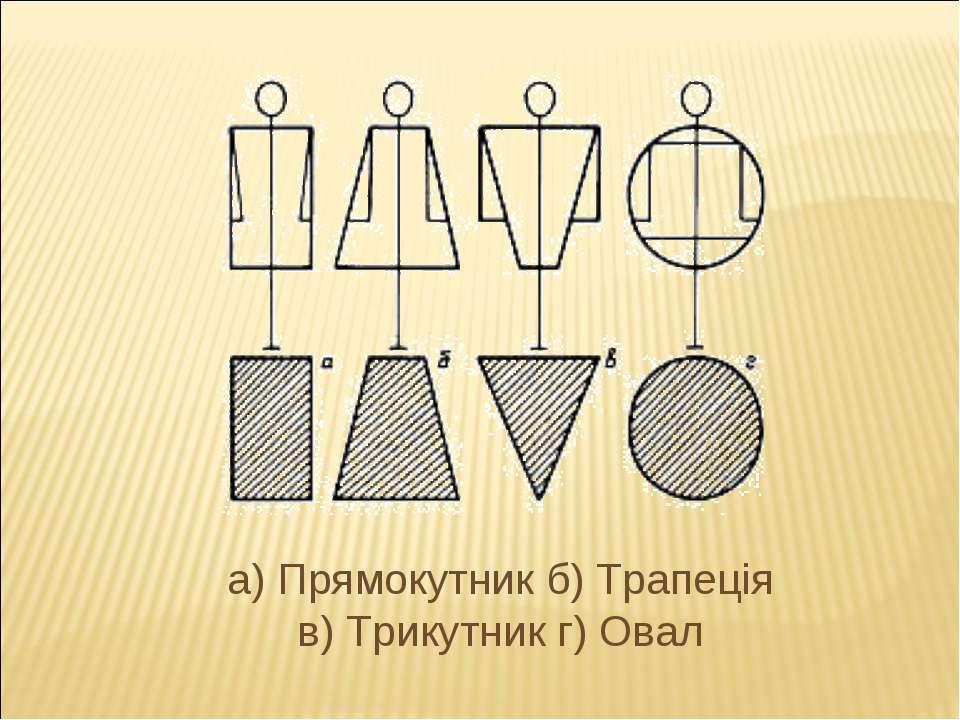 а) Прямокутник б) Трапеція в) Трикутник г) Овал