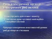 Роль електричних органів електричних риб велика: - Вони слугують для атаки і ...