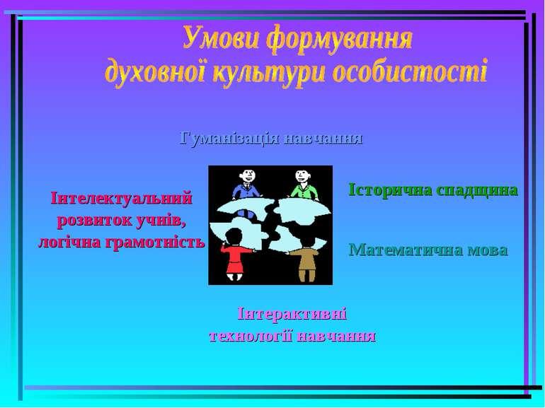 Гуманізація навчання Інтерактивні технології навчання Інтелектуальний розвито...