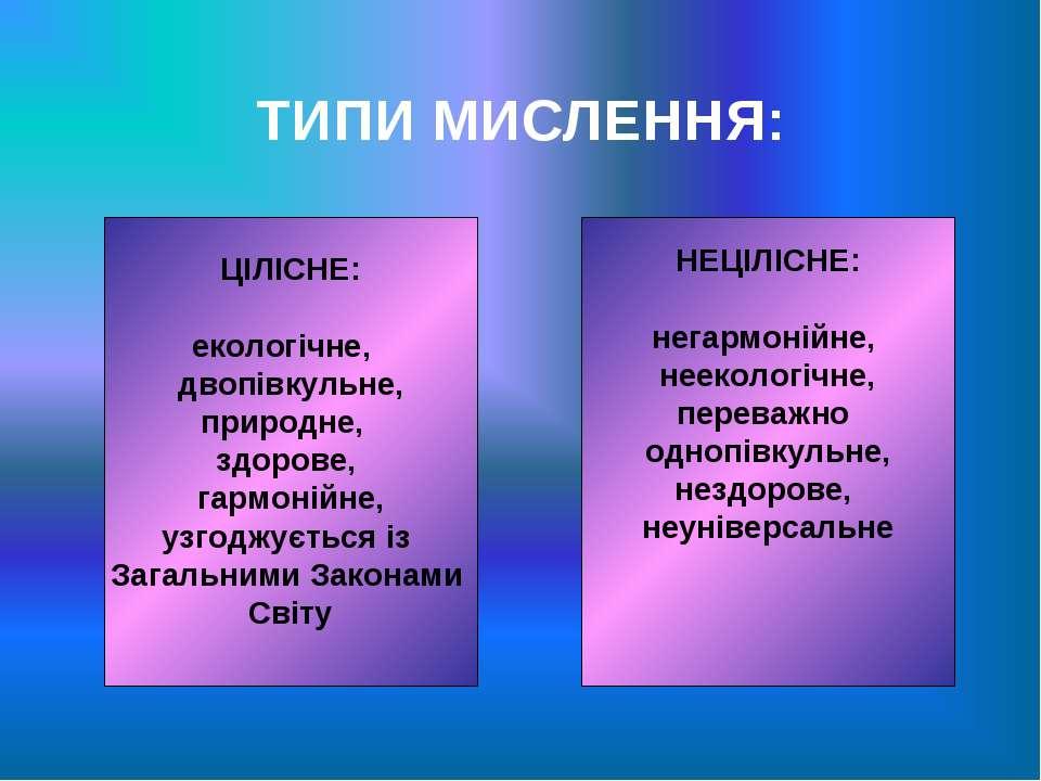 ТИПИ МИСЛЕННЯ: ЦІЛІСНЕ: екологічне, двопівкульне, природне, здорове, гармоній...