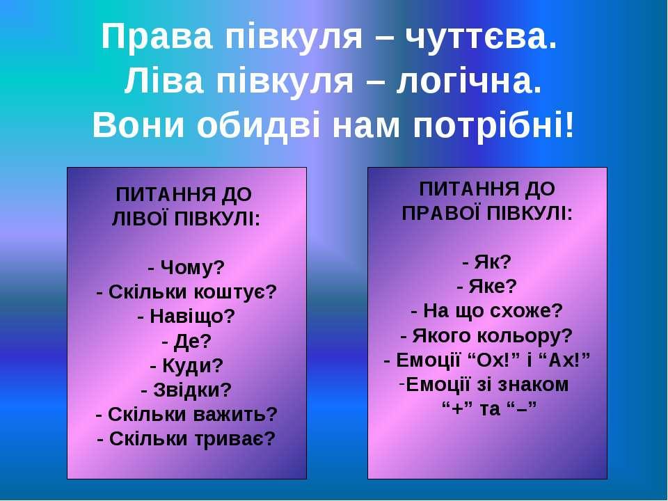 Права півкуля – чуттєва. Ліва півкуля – логічна. Вони обидві нам потрібні! ПИ...