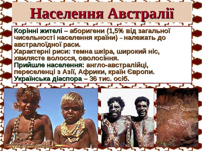 Населення Австралії Корінні жителі – аборигени (1,5% від загальної чисельност...