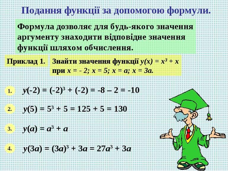 Подання функції за допомогою формули. Формула дозволяє для будь-якого значенн...