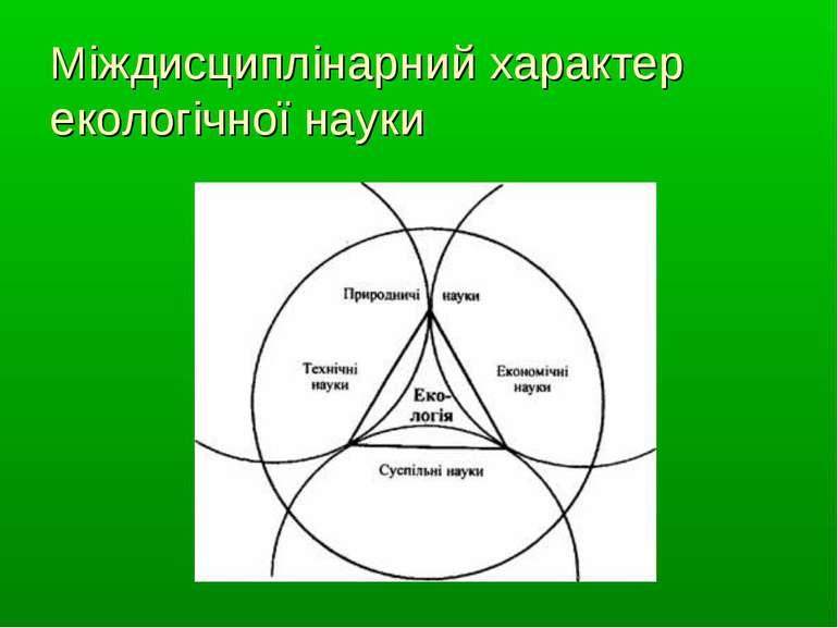 Міждисциплінарний характер екологічної науки