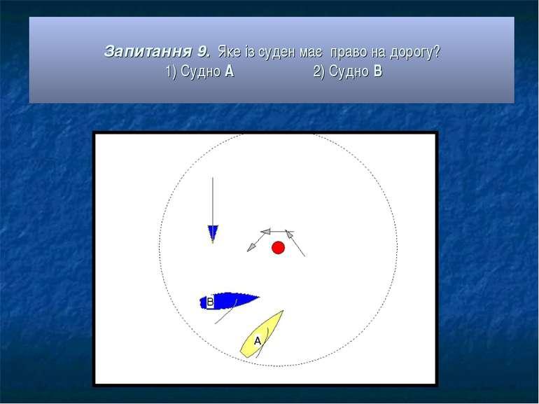Запитання 9. Яке із суден має право на дорогу? 1) Судно А 2) Судно В