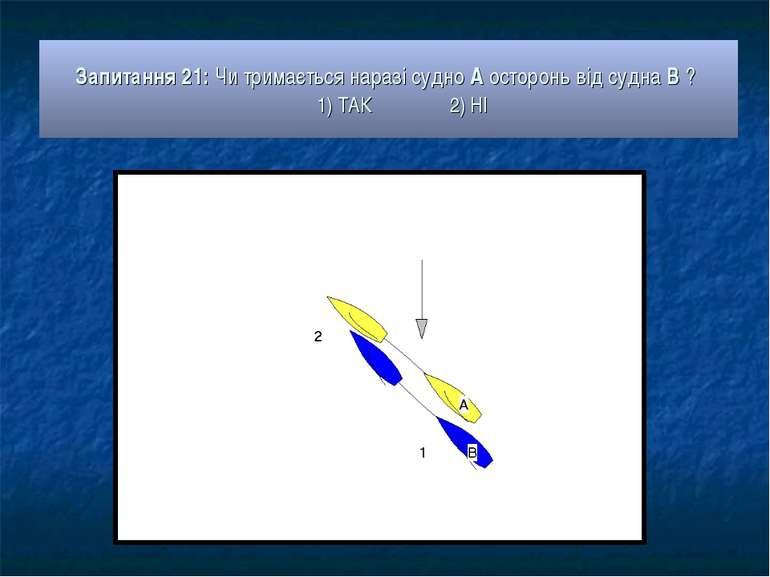 Запитання 21: Чи тримається наразі судно А осторонь від судна В ? 1) ТАК 2) НІ