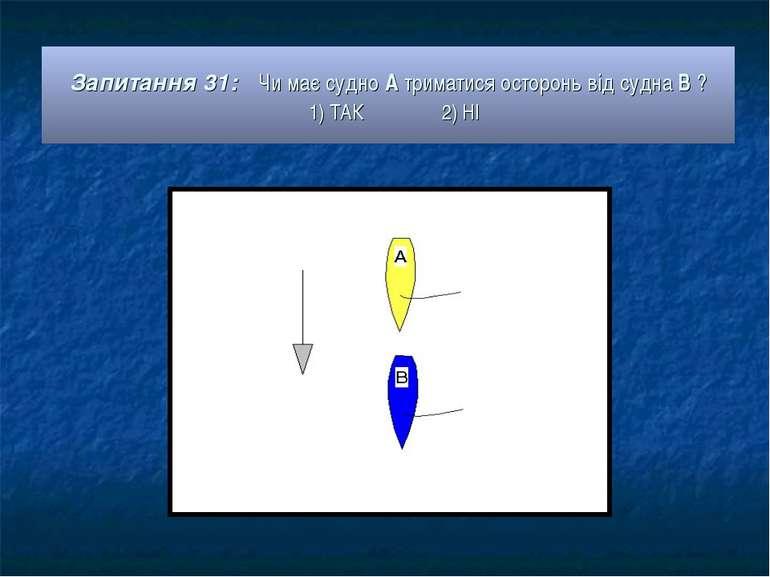 Запитання 31: Чи має судно А триматися осторонь від судна В ? 1) ТАК 2) НІ