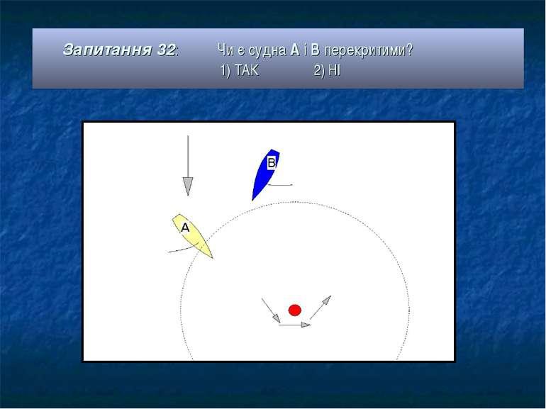 Запитання 32: Чи є судна А і В перекритими? 1) ТАК 2) НІ
