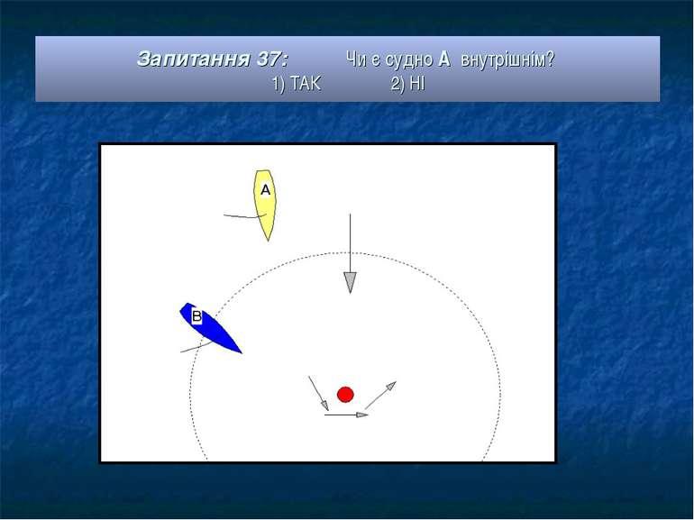 Запитання 37: Чи є судно А внутрішнім? 1) ТАК 2) НІ
