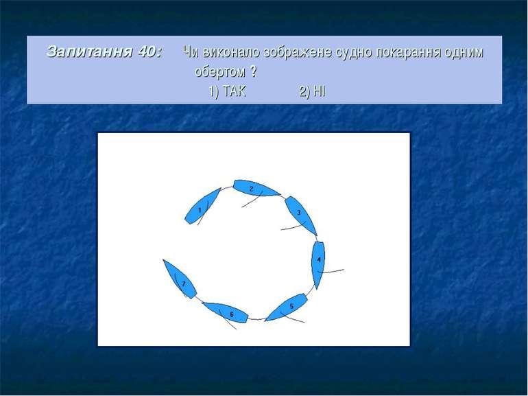 Запитання 40: Чи виконало зображене судно покарання одним обертом ? 1) ТАК 2) НІ