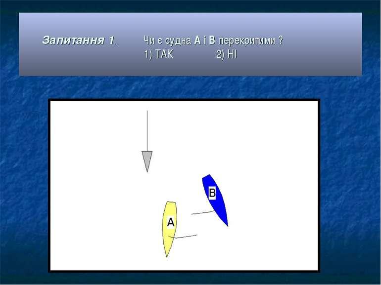 Запитання 1. Чи є судна А і В перекритими ? 1) ТАК 2) НІ