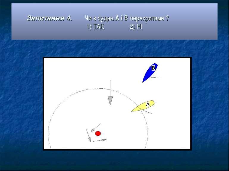 Запитання 4. Чи є судна А і В перекритими ? 1) ТАК 2) НІ