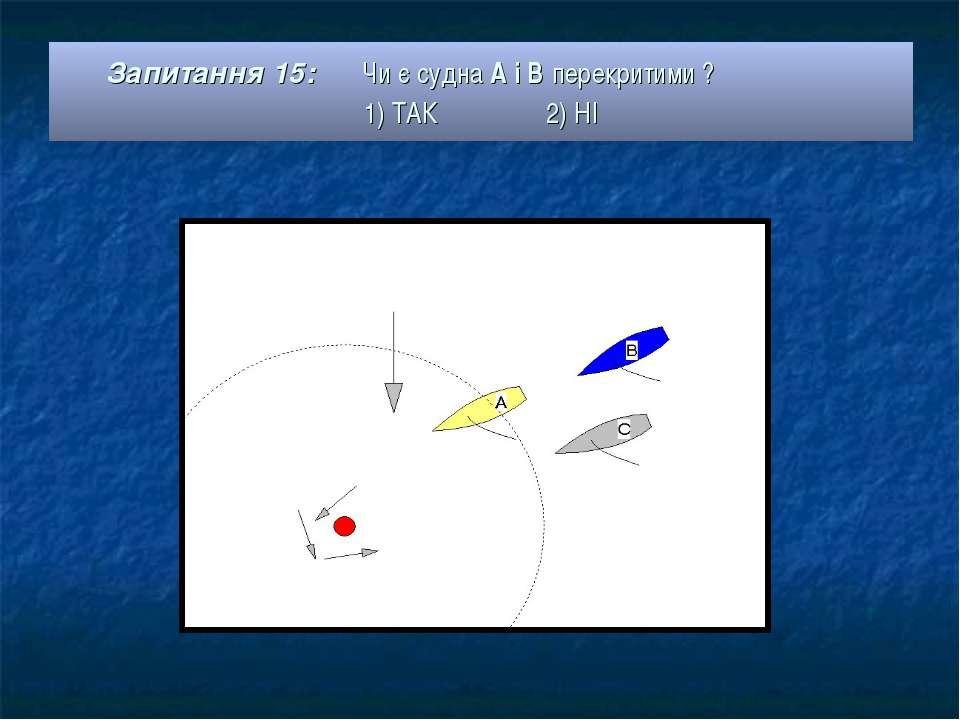 Запитання 15: Чи є судна А і В перекритими ? 1) ТАК 2) НІ