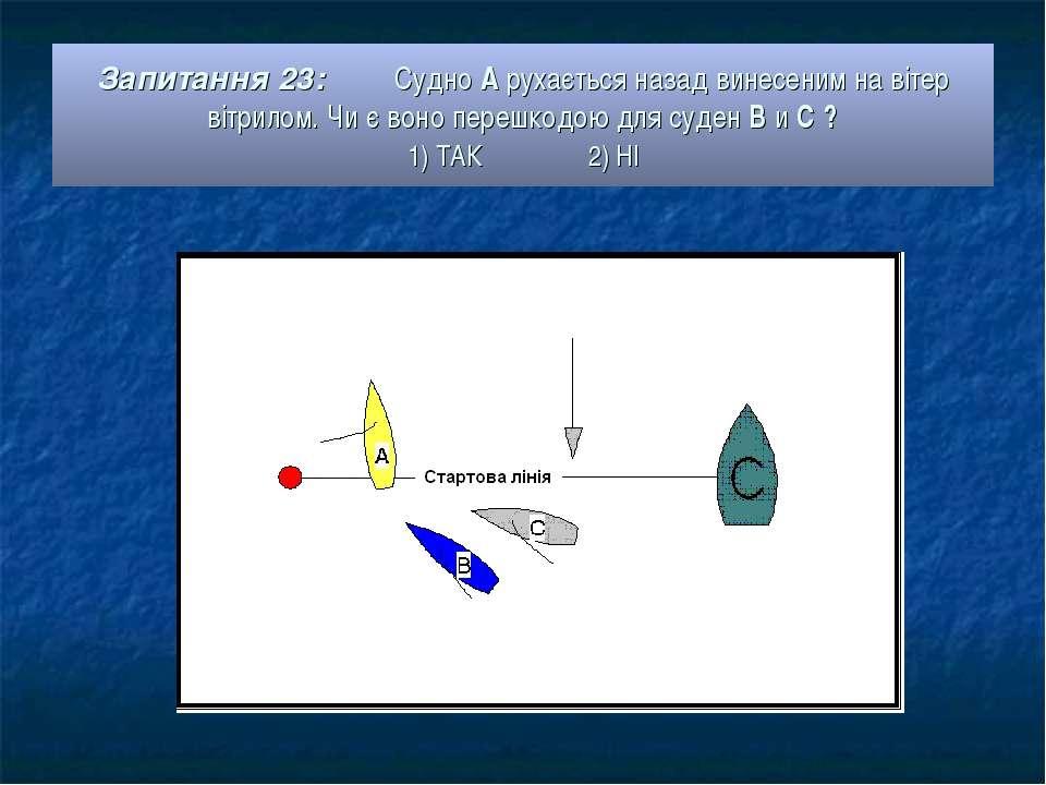Запитання 23: Судно А рухається назад винесеним на вітер вітрилом. Чи є воно ...