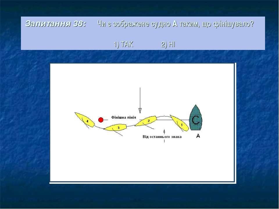 Запитання 38: Чи є зображене судно А таким, що фінішувало? 1) ТАК 2) НІ