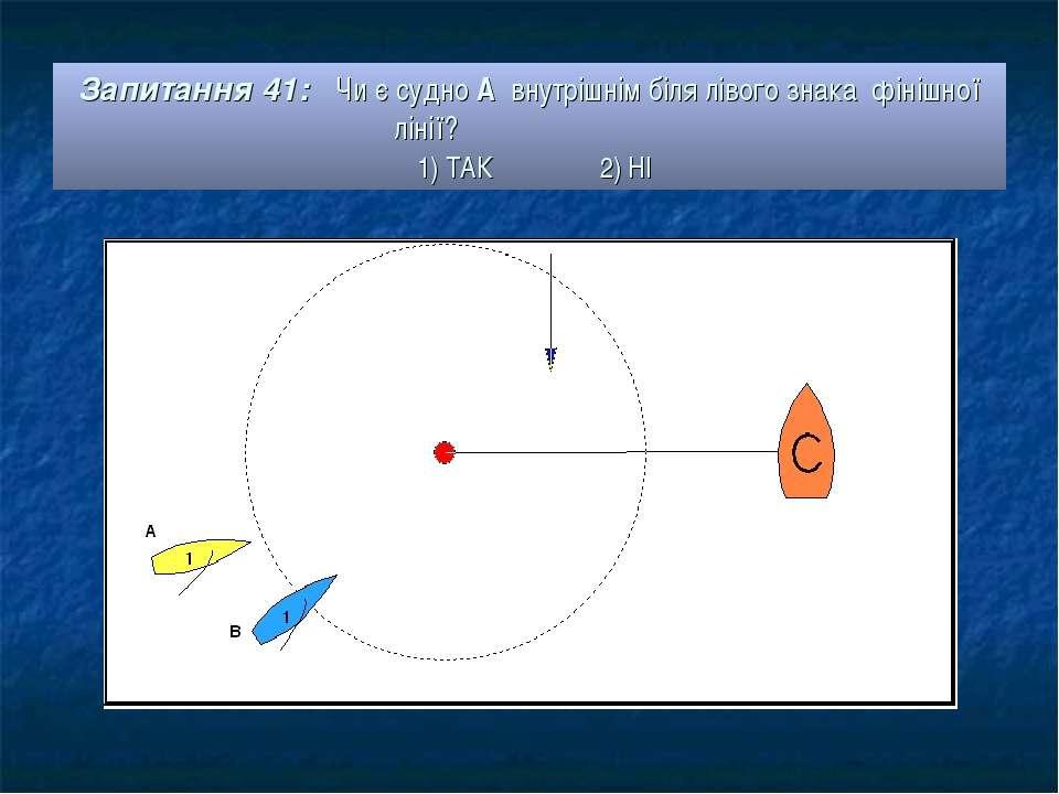 Запитання 41: Чи є судно А внутрішнім біля лівого знака фінішної лінії? 1) ТА...