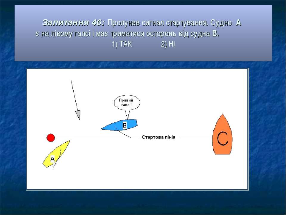 Запитання 46: Пролунав сигнал стартування. Судно А є на лівому галсі і має тр...