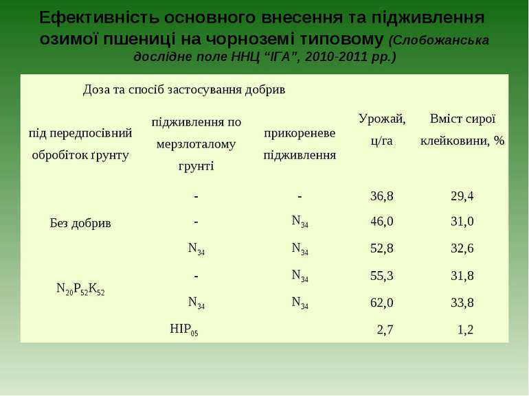 Ефективність основного внесення та підживлення озимої пшениці на чорноземі ти...
