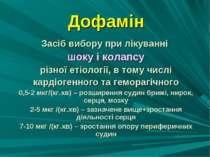 Дофамін Засіб вибору при лікуванні шоку і колапсу різної етіології, в тому чи...