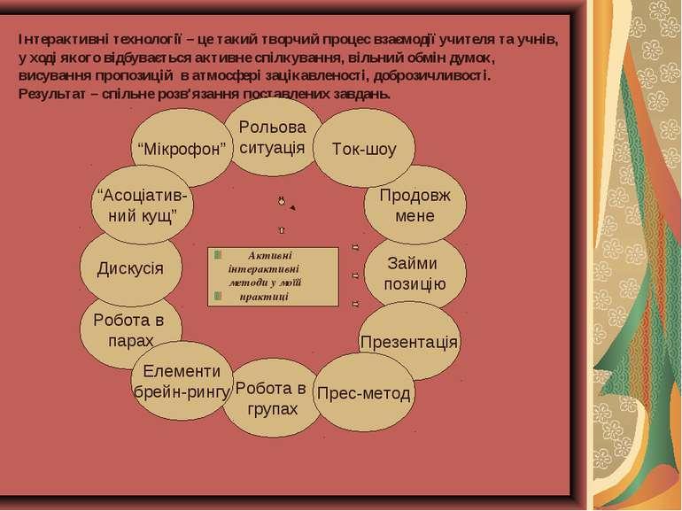 Інтерактивні технології – це такий творчий процес взаємодії учителя та учнів,...