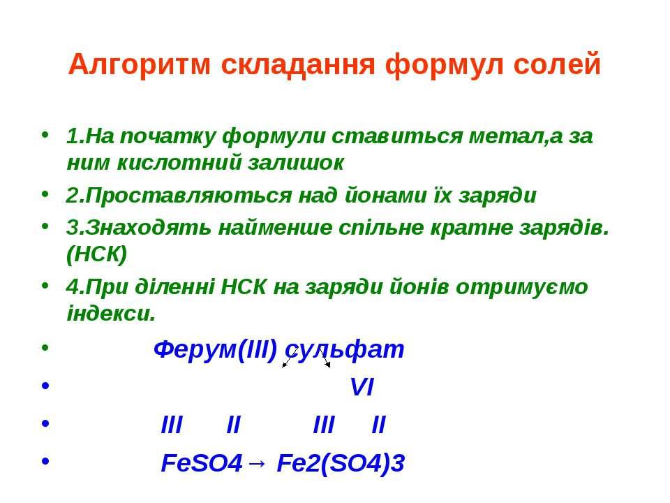 Алгоритм складання формул солей 1.На початку формули ставиться метал,а за ним...