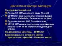 Діагностичні критерії бактеріурії З середньої порції сечі Понад 105 МТ/мл одн...