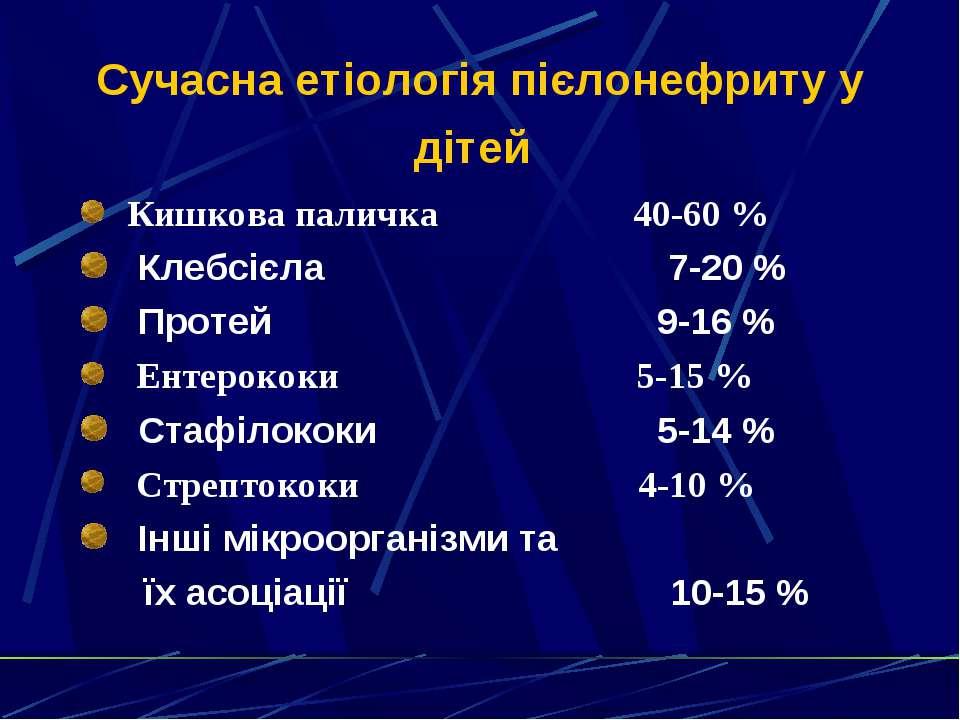 Сучасна етіологія пієлонефриту у дітей Кишкова паличка 40-60 % Клебсієла 7-20...