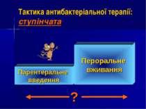 Тактика антибактеріальної терапії: ступінчата Парентеральне введення Перораль...