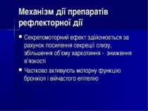 Механізм дії препаратів рефлекторної дії Секретомоторний ефект здійснюється з...