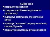 Амброксол розріджує харкотиння стимулює вироблення ендогенного сурфактанту пі...
