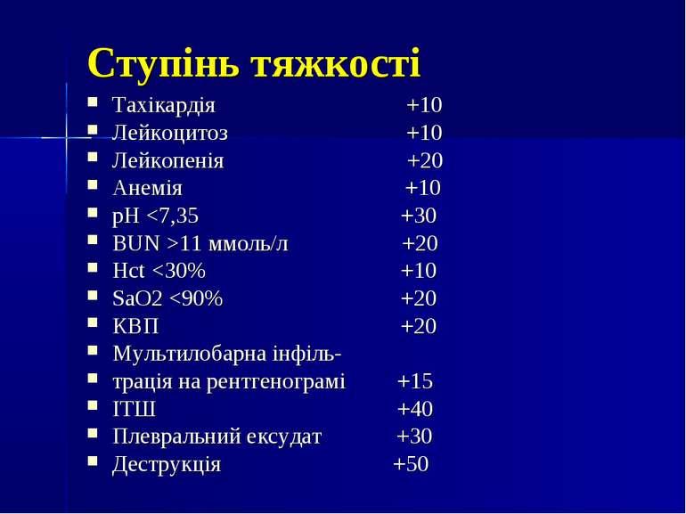 Ступінь тяжкості Тахікардія +10 Лейкоцитоз +10 Лейкопенія +20 Анемія +10 pH 1...