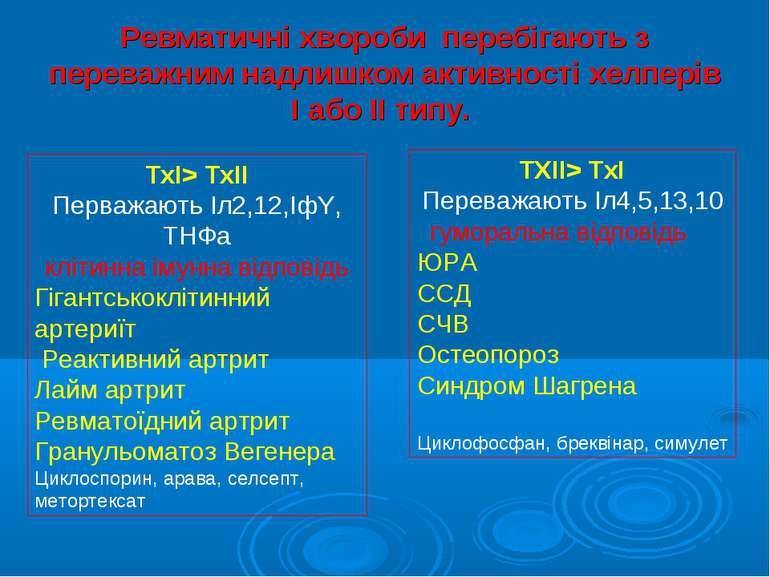 Ревматичні хвороби перебігають з переважним надлишком активності хелперів І а...