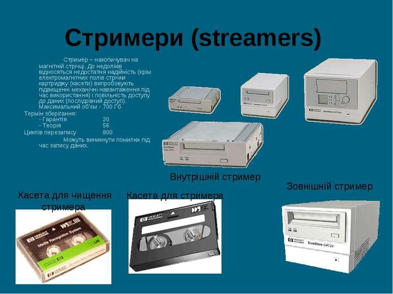 Стримери (streamers) Стример – накопичувач на магнітній стрічці. До недоліків...
