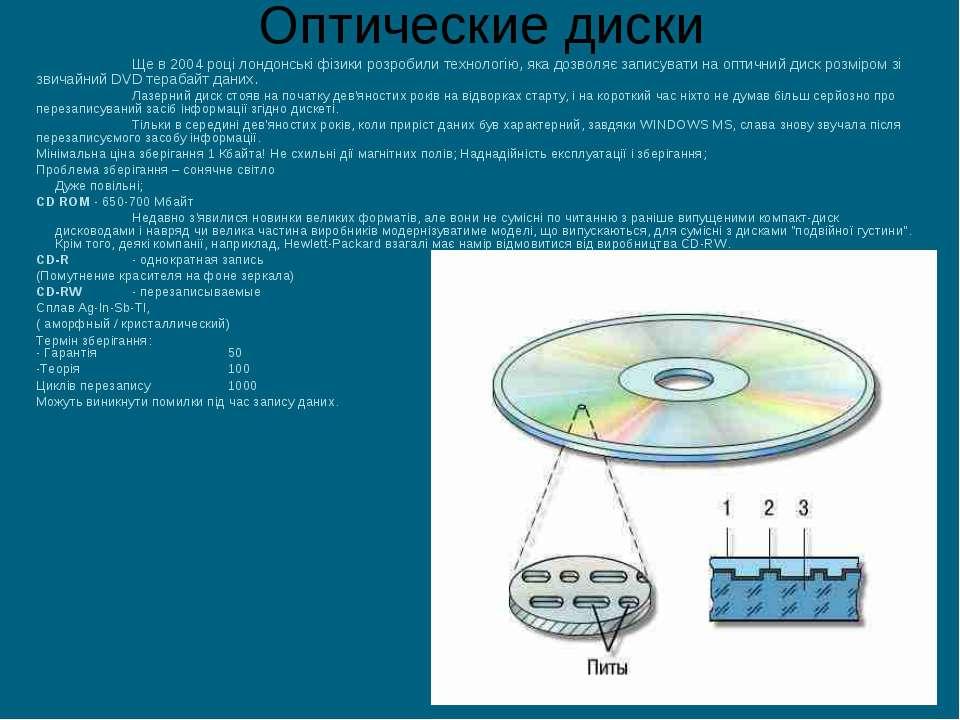 Оптические диски Ще в 2004 році лондонські фізики розробили технологію, яка д...