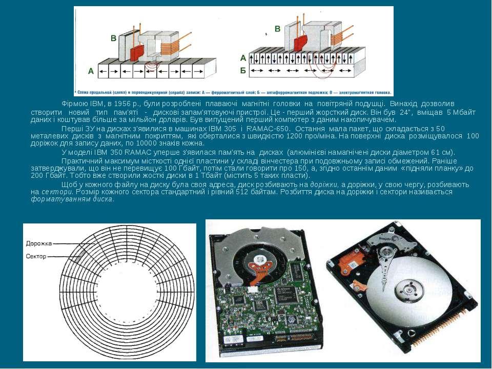 Фірмою IBM, в 1956 р., були розроблені плаваючі магнітні головки на повітряні...