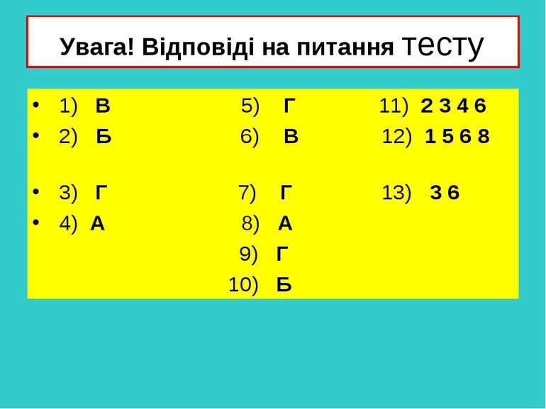 Увага! Відповіді на питання тесту 1) В 5) Г 11) 2 3 4 6 2) Б 6) В 12) 1 5 6 8...